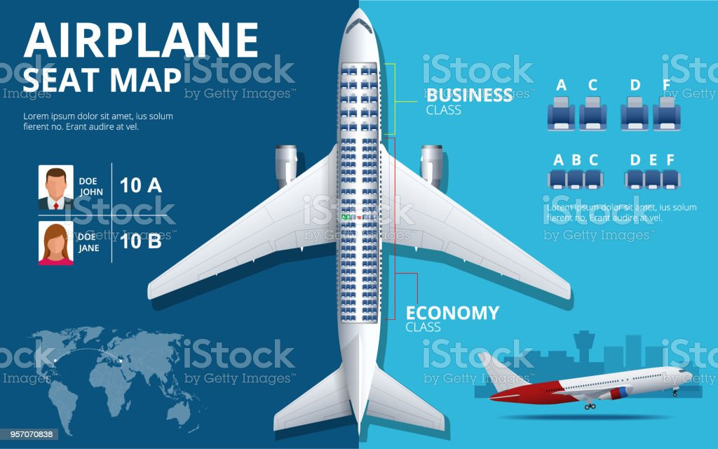Asiento de avión de carta, plan de pasajero del avión. Vista superior del plan de asientos de avión. Mapa de información interior de avión clases de economía y negocios. Ilustración de vector del plano de fondo ULTRAVIOLETA - ilustración de arte vectorial