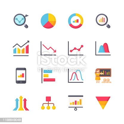 16 Chart and Diagram Flat Icons.