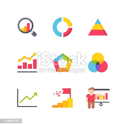 9 Chart and Diagram Flat Icons.