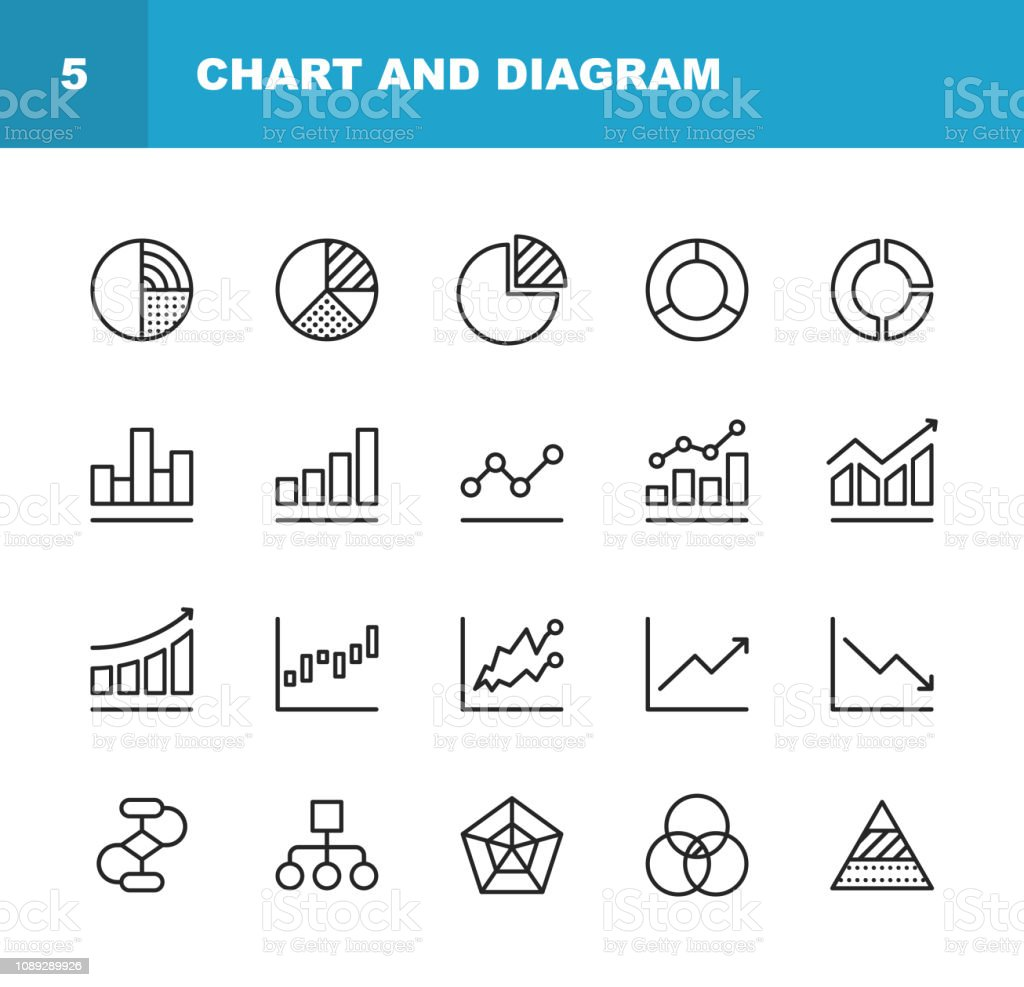 Chart and Diagram Line Icons. Editable Stroke. Pixel Perfect. For Mobile and Web. Contains such icons as Pie Chart, Stock Market Data, Organizational Chart, Progress Report, Bar Graph. - Grafika wektorowa royalty-free (Analizować)