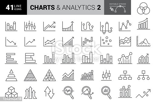 Chart and Diagram Line Icons. Editable Stroke. Pixel Perfect. For Mobile and Web. Contains such icons as Pie Chart, Stock Market Data, Organizational Chart, Progress Report, Bar Graph