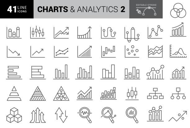 illustrations, cliparts, dessins animés et icônes de icônes de graphique et de ligne de diagramme. course modifiable. pixel parfait. pour mobile et web. contient des icônes telles que graphique en secteurs, données boursières, organigramme, rapport d'étape, graphique à barres - graph