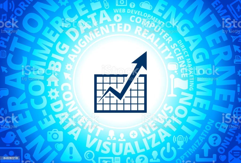 Chart and Progrress Arrow Icon on Internet Modern Technology Words Background vector art illustration
