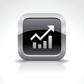 An illustration of chart finance glossy icon for your web page, presentation, apps & design products. Black & white design and has a metal frame that makes it look dazzling. Vector format can be fully scalable & editable.