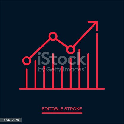 istock Chart graph with arrow line icon. Editable Stroke 1200103701