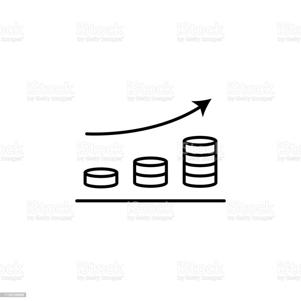 chart in coins line icon. Element of chart icon for mobile concept...