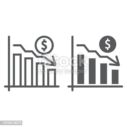 Chart line and glyph icon, finance and banking, decrease sign, vector graphics, a linear pattern on a white background, eps 10.