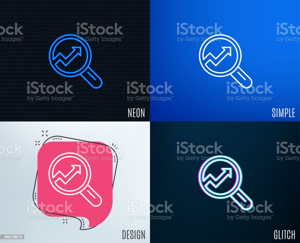 Chart line icon. Report graph sign in magnifier. royalty-free chart line icon report graph sign in magnifier stock vector art & more images of accountancy
