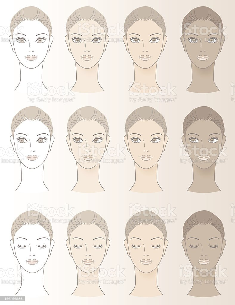 Chart of Beautiful Woman complexion vector art illustration