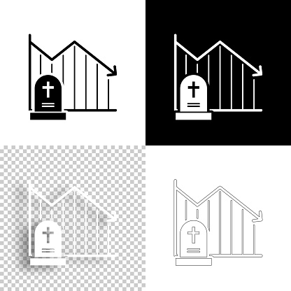 Chart of decreased mortality. Icon for design. Blank, white and black backgrounds - Line icon