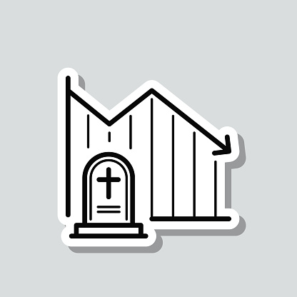 Chart of decreased mortality. Icon sticker on gray background