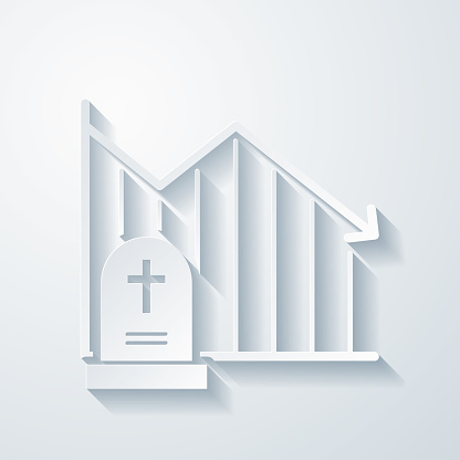 Chart of decreased mortality. Icon with paper cut effect on blank background
