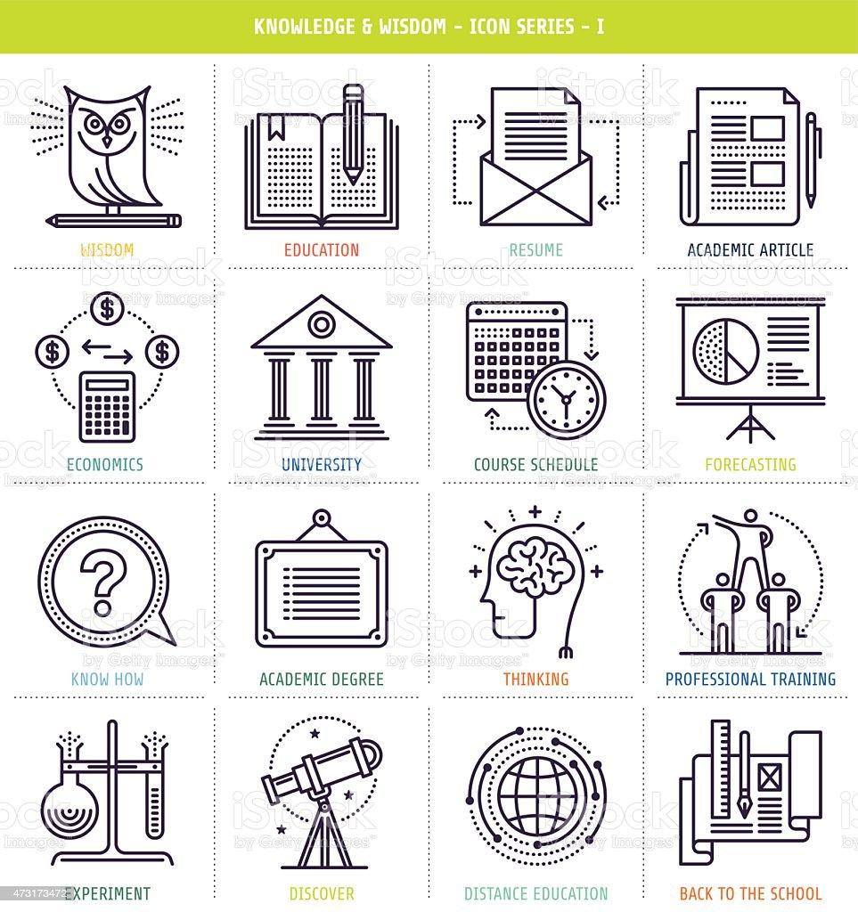 Conjunto de iconos de conocimiento y la sabiduría - ilustración de arte vectorial