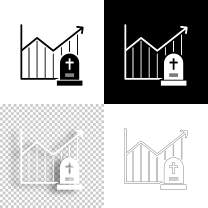 Chart of increased mortality. Icon for design. Blank, white and black backgrounds - Line icon