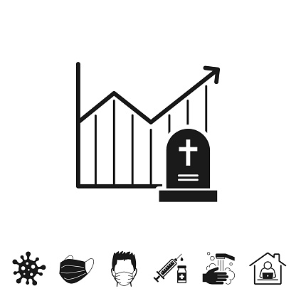 Chart of increased mortality. Icon for design on white background