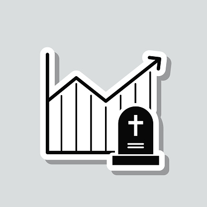 Chart of increased mortality. Icon sticker on gray background