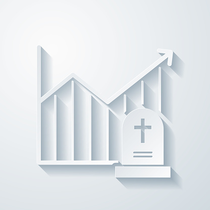 Chart of increased mortality. Icon with paper cut effect on blank background