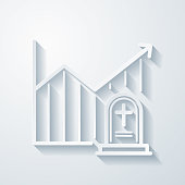 istock Chart of increased mortality. Icon with paper cut effect on blank background 1321165216