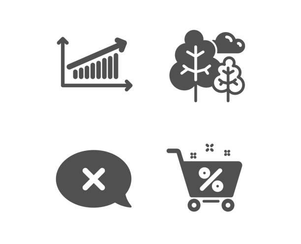 chart, reject and tree icons. unterschrift in den krediten. präsentationsdiagramm, löschbotschaft, waldpflanzen. vektor - hypotheken kündigung stock-grafiken, -clipart, -cartoons und -symbole