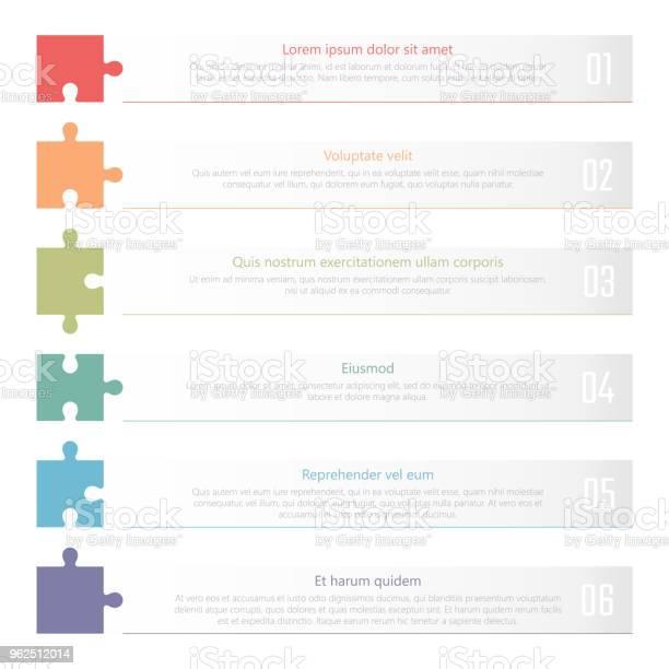 Vetores de Design Gráfico Da Tabela Classificado Modelo De Vetor Lista Numerada Com Quebracabeças Coloridos e mais imagens de Abstrato