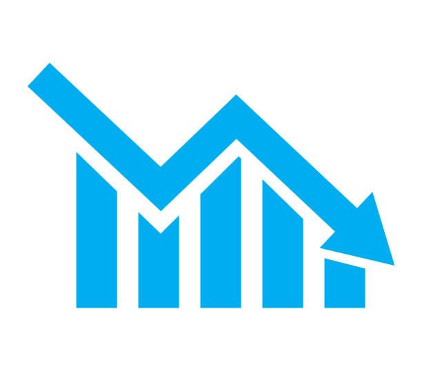 ilustrações, clipart, desenhos animados e ícones de carta com as barras que declinam no fundo branco. ícone do gráfico. ícone gráfico para o seu web site design, logo, app, ui. estilo liso. - economia