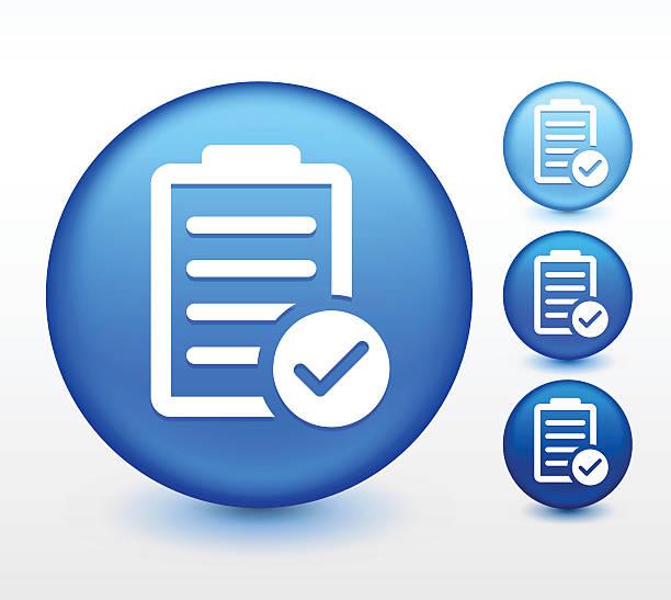 bildbanksillustrationer, clip art samt tecknat material och ikoner med chart with checkmark on blue round button - medicinsk journal