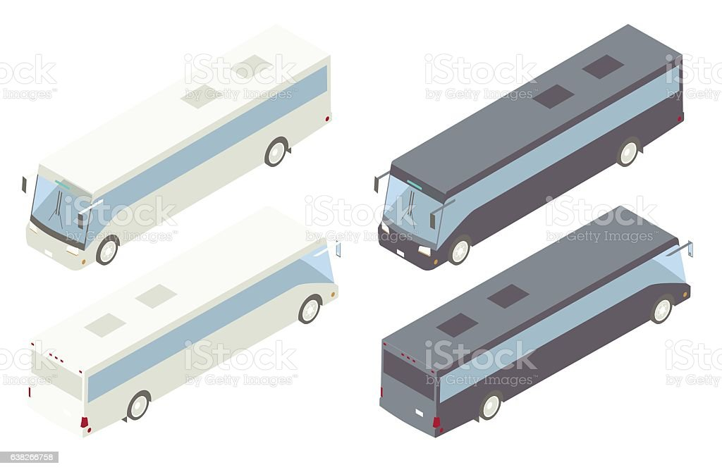 Charter Bus Isometric Illustration vector art illustration
