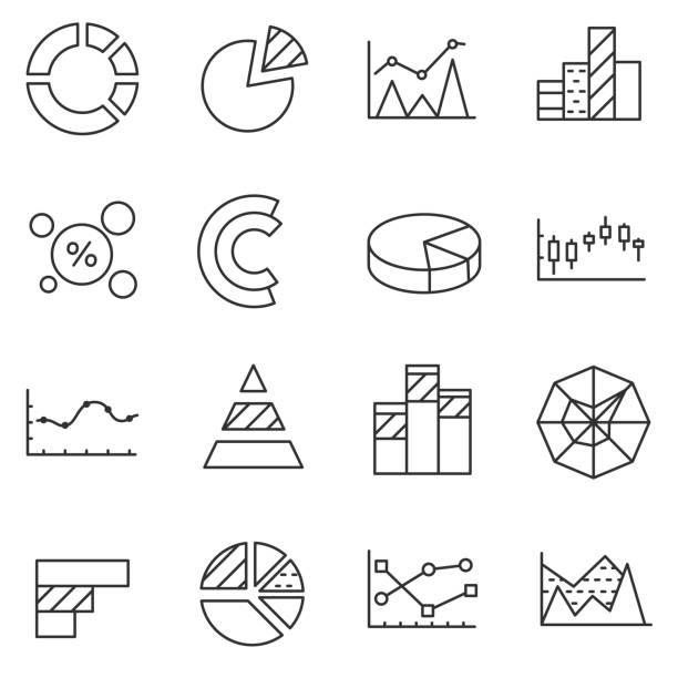 çizelgeler ve grafikler, satır icons set. - yıllık olay stock illustrations