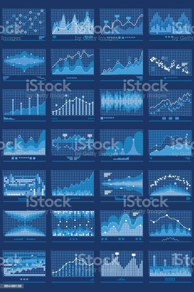 Charts Blue Vector Mobile Background vector art illustration