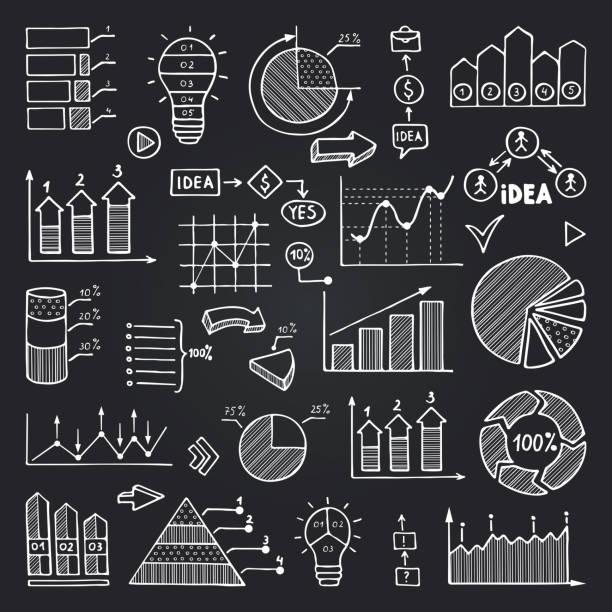 illustrations, cliparts, dessins animés et icônes de tableaux, de graphiques de données et d'autres éléments infographiques isolent sur tableau noir. jeu d'images vectorielles - tableaux et graphiques