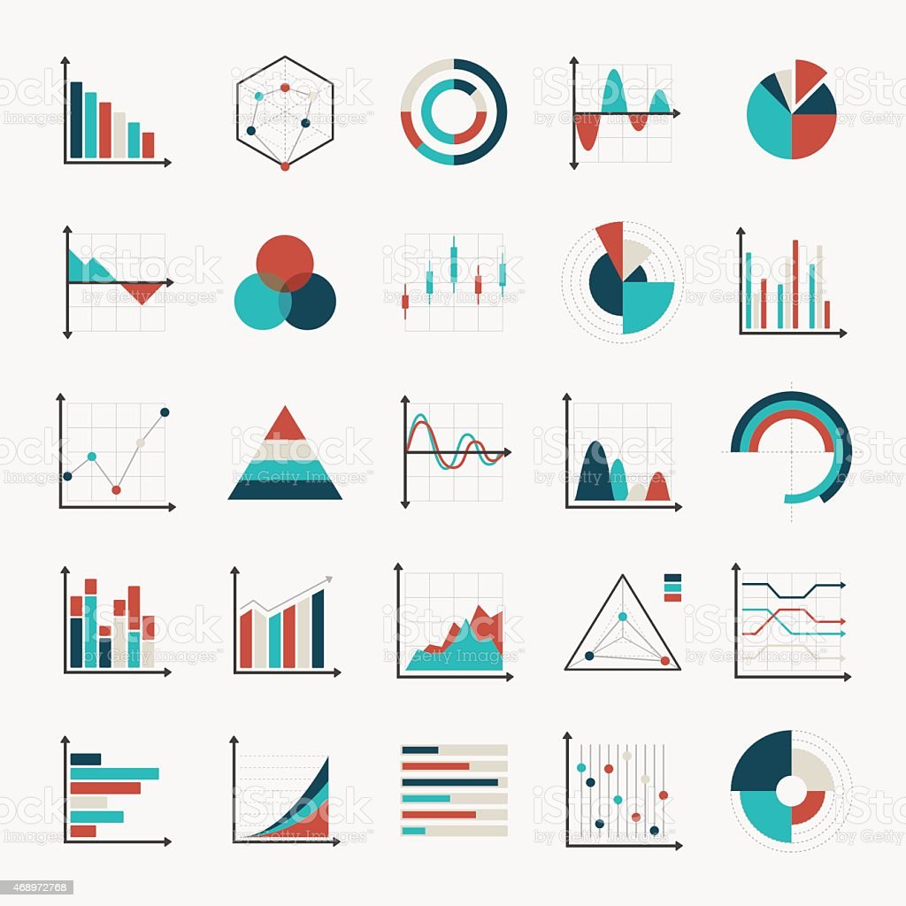 Charts Diagrams And Graphs Flat Icons Stock Illustration - Download Image Now