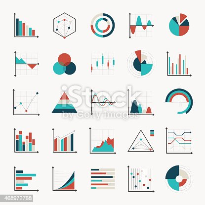 charts diagrams and graphs flat icons vector