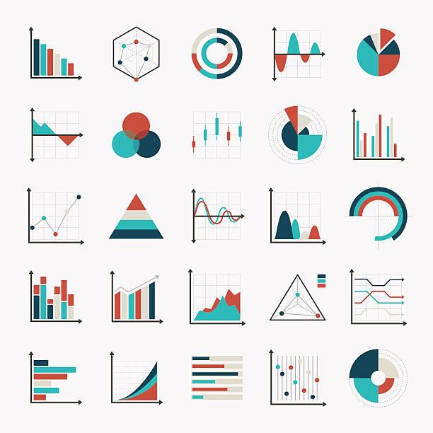 charts diagrams and graphs flat icons vector art illustration