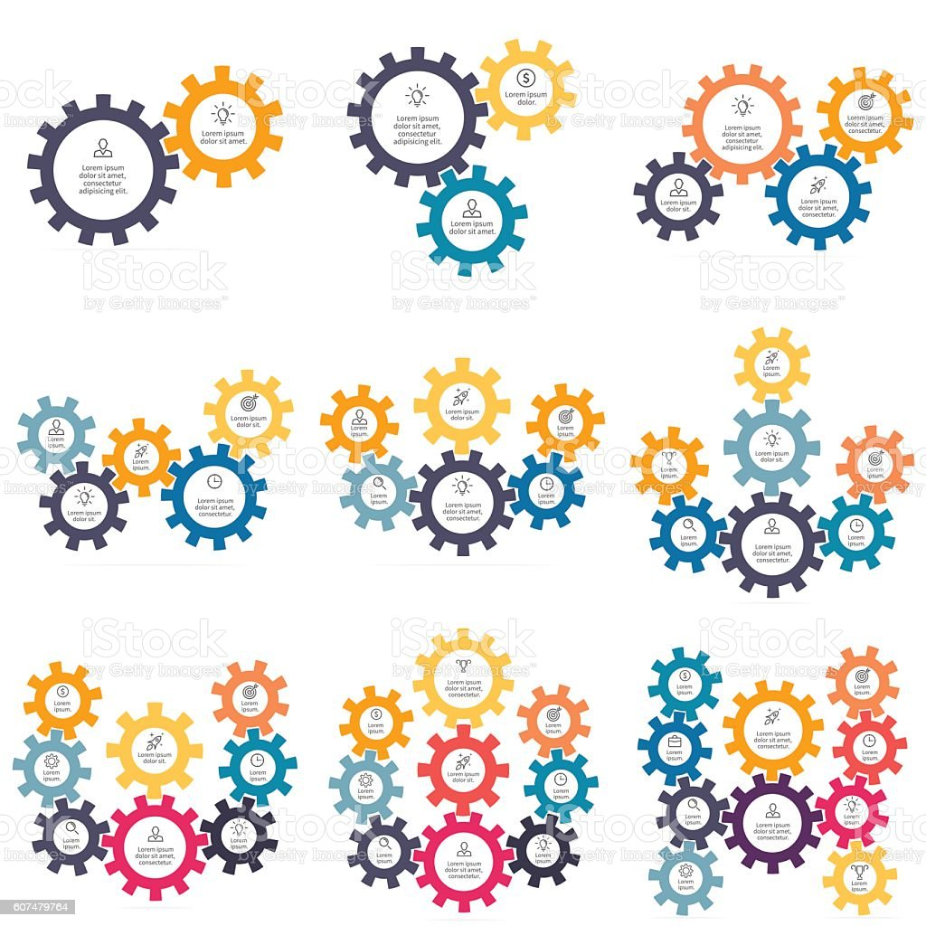 Charts, diagrams with 2 - 10 gears. vector art illustration
