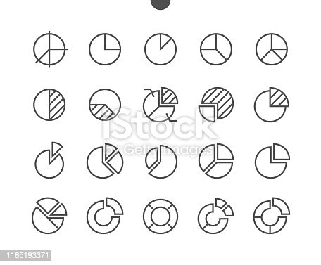Charts UI Pixel Perfect Well-crafted Vector Thin Line Icons 48x48 Grid for Web Graphics and Apps. Simple Minimal Pictogram Part 1-4