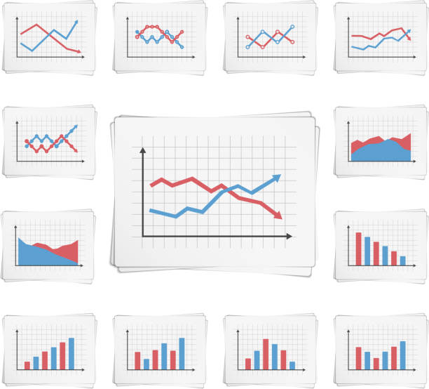 stockillustraties, clipart, cartoons en iconen met charts - lijngrafiek