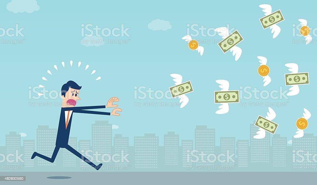 Chasing Dollar vector art illustration