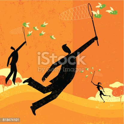 Business people chasing flying money with butterfly nets. The people and background are on separate labeled layers.