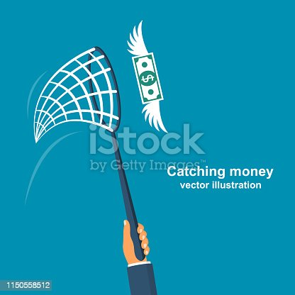 Chasing money concept. Businessman trying to catch flying money. Business metaphor. Vector illustration flat design. Isolated on white background.