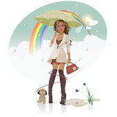 Stylish young woman out with her little dog who is chasing around her trying to catch the rainbow.