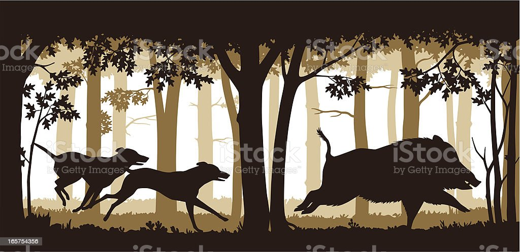 Chasing The Wild Boar royalty-free stock vector art