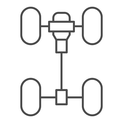 Chassis car thin line icon. Automobile wheels mechanism vector illustration isolated on white. Auto part outline style design, designed for web and app. Eps 10.