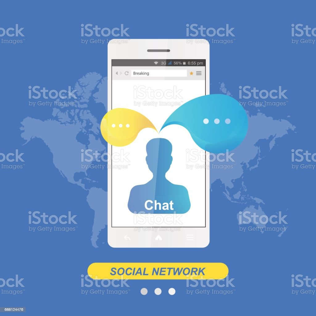 Chat and message icon in smartphone on the background world map flat chat and message icon in smartphone on the background world map flat vector illustration eps gumiabroncs Image collections