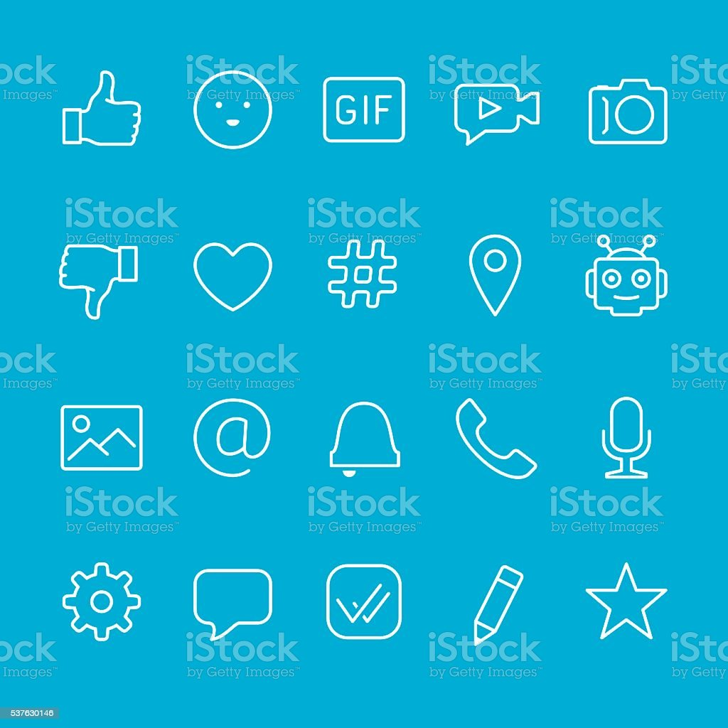 Chat and Messaging outline icons vector art illustration