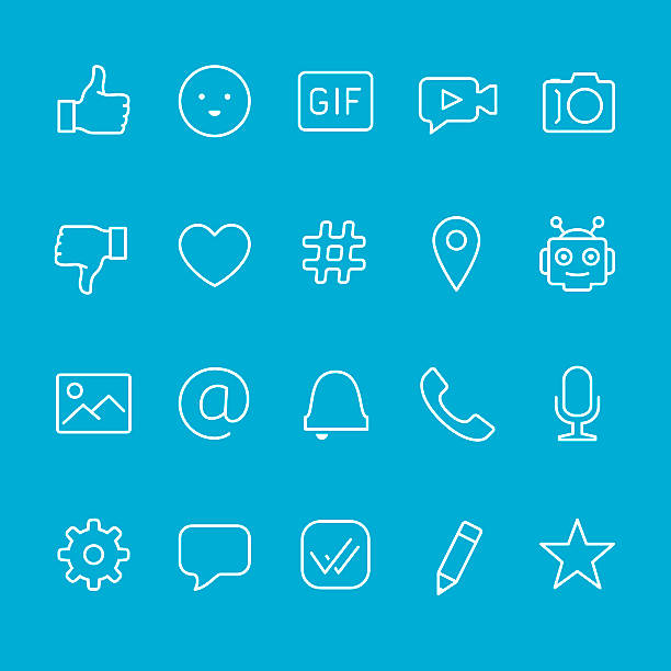 chat and messaging outline icons - gif stock illustrations
