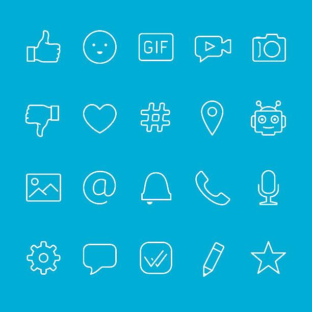 채팅 및 메시징 외형선 아이콘 - gif stock illustrations