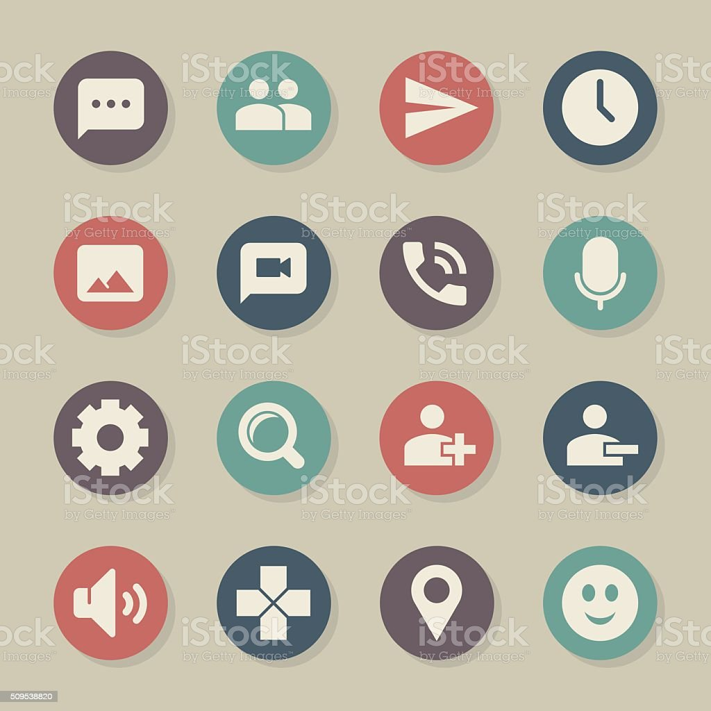 Chat App Icons - Color Circle Series vector art illustration