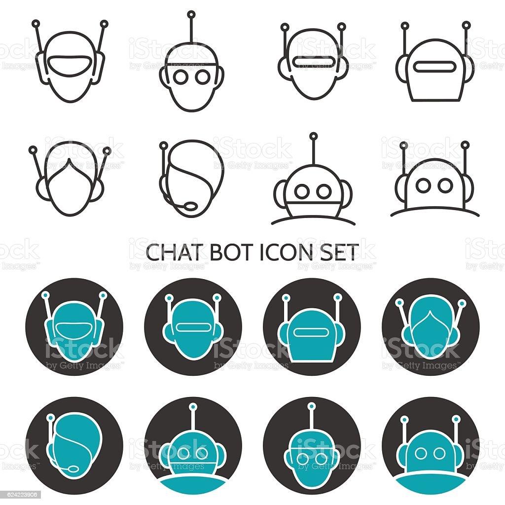 Chat bot icon set vector art illustration