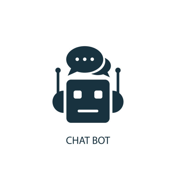chat bot icon. simple element illustration - robotics stock illustrations, clip art, cartoons, & icons