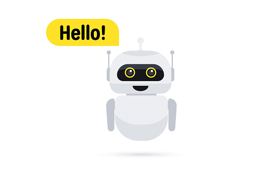 Chat bot in smartphone. Chat messenger icon. Support or service icon. Support service bot say users Hello. Chatbot greets. Online consultation. Customer service, support, assistance, call center